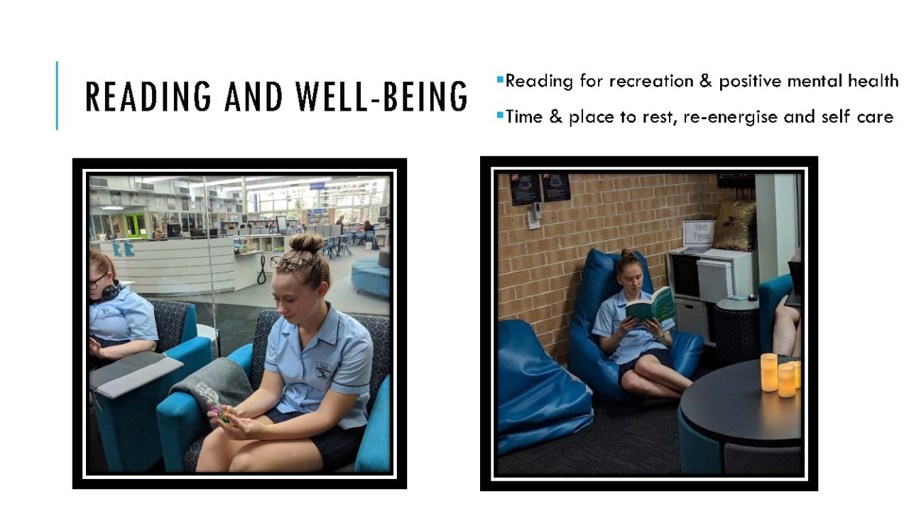 collage of students participating in reading and well-being.