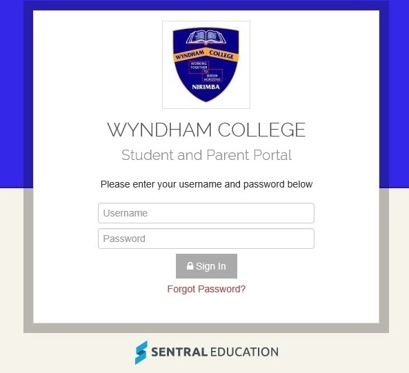 student and parent portal login page